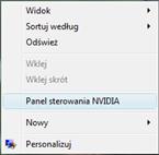 panel sterowania NVIDIA