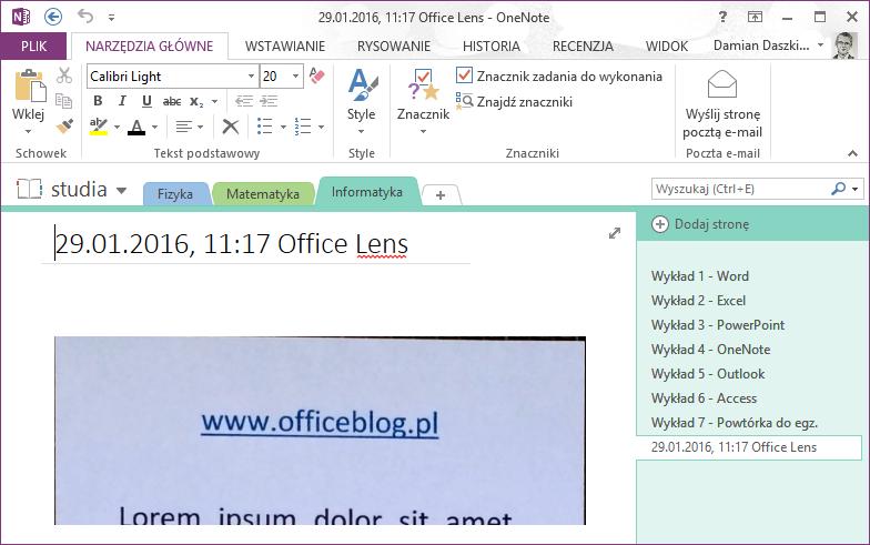 OneNote notatka z Office Lens