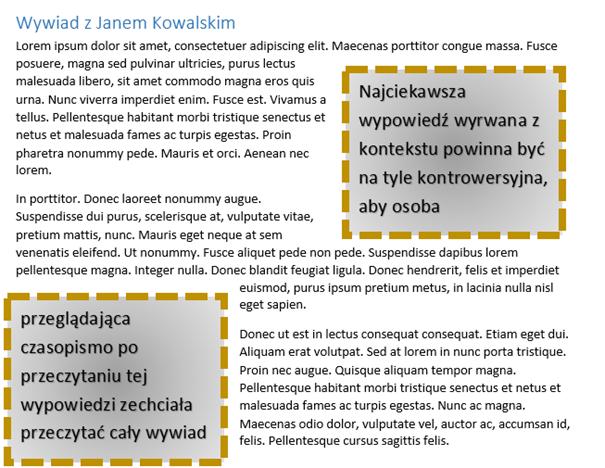 dwa pola tekstowe z połączonym tekstem