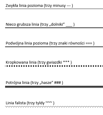 word-linie